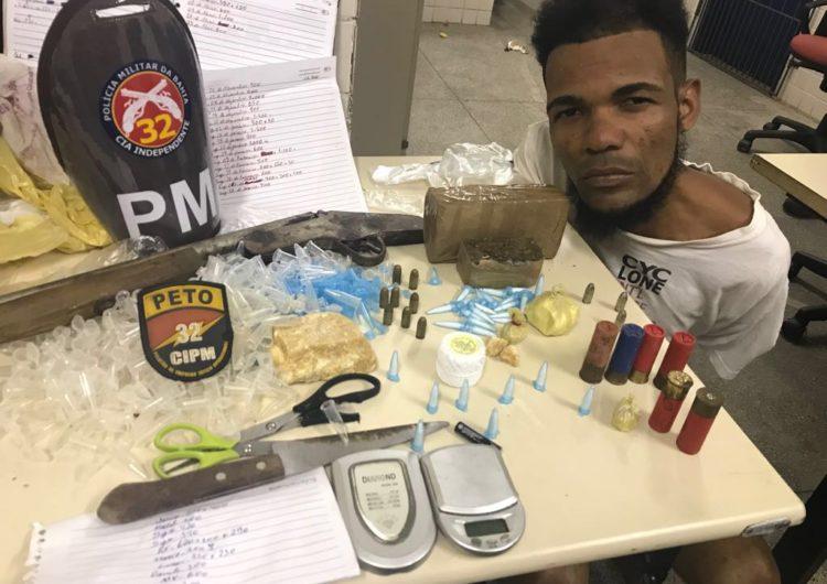 Motociclista é flagrado com drogas e munições em Pojuca